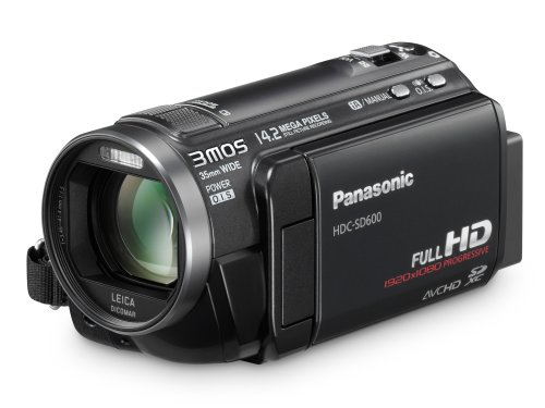 Panasonic SD600 Full HD 1920x1080p (50p) Camcorder with 3MOS Sensor and SD Card Recording - Black