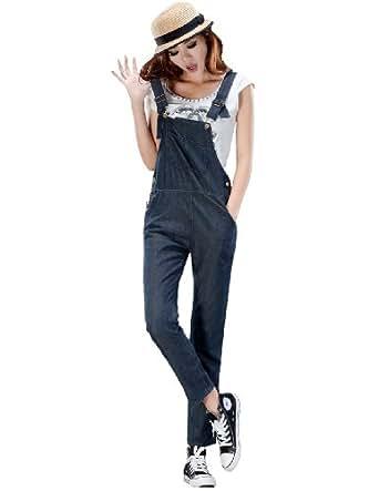 Amazon.com: Lana Hua Long Blue Denim Washed Loose Ladies Women's