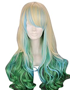 "MapofBeauty 24"" Wavy Multi-Color Lolita Cosplay Wig Party Wig (Lingt Blonde/ Blue/ Green)"