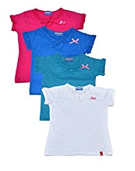 Clever baby girls Tshirt(ZCGT-004-PC4-04-8-9Yrs_Multi_8-9 Years)
