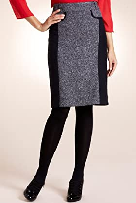 Per Una Contrast Panel Textured Skirt [T62-3016H-S-LCTB]