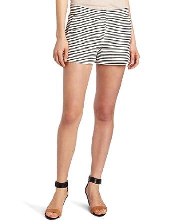 BCBGMAXAZRIA Women's Pia Casual Striped Short, White/Black, X-Small