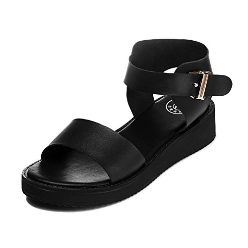 Allure.Love Women Flat Summer Sandal Thick Sole Students Shoes(7 B(M)US, Black) (Shape Up Shoe Polish compare prices)