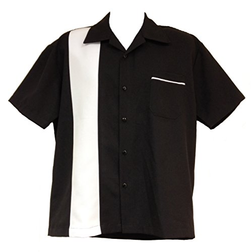 Hip Hop 50S Shop Retro Cruiser Men'S Bowling Shirt (2X, Black/White)
