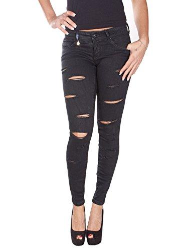 Only pantaloni donna Coral SL SK D500 cinque tasche nero strappi 15098615 (W27 L34)