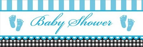 Creative Converting Sweet Baby Feet Blue Giant Baby Shower Banner