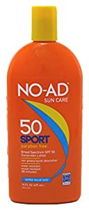 NO-AD Sport Active Sunscreen Lotion, SPF 50 16 oz (Pack of 2)