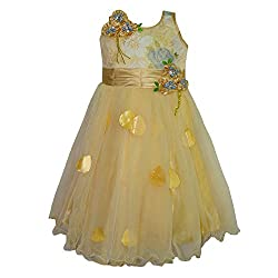Chokree Gold Color Party Wear Dress/Frock for girl