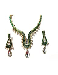Sneh Exclusive U Shaped Enamelled Pearl & Kundan Necklace Set For Women