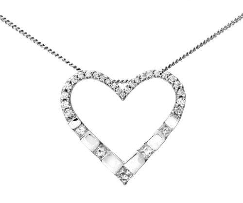 18ct White Gold Half Carat Diamond Heart Pendant
