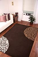 Contemporary Chocolate Brown Beige Ivory Rug Shiraz from The Rug House