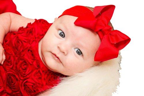 "Grosgrain Bow Baby Headband (2"" Cotton/Nylon Blend (Newborn - 2 Years), Red)"