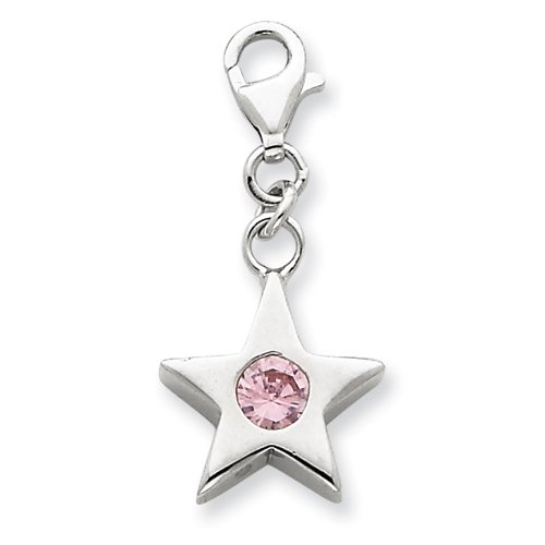 Sterling Silver October CZ Birthstone Star Charm