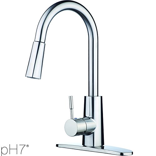 Buy pH7® Lead-Free Plastic Single-Handle Pull-Down Kitchen Faucet with Plate, Brushed Nickel