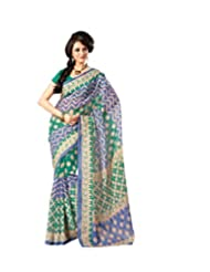 Anvi Creations Blue Green Bhagalpuri Cotton Silk Saree (Blue_Free Size)