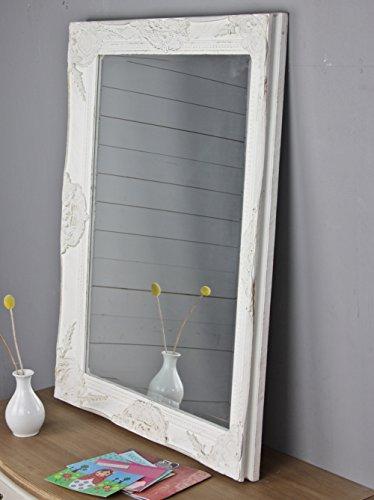 wandspiegel in wei antik mit patina 82 x 62cm spiegel schlicht barock aus holz mit. Black Bedroom Furniture Sets. Home Design Ideas