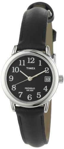 Timex Ladies Easy Read Watch with Black Dial and Black Leather Strap - T2N525PF