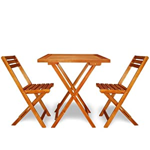 Wooden Garden Dining Furniture Set Folding Table Chairs