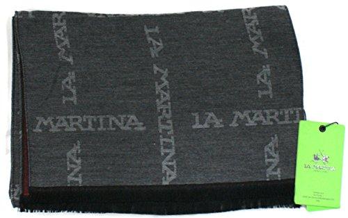 La Martina Sciarpa Unisex Logata Made in Italy Double Cm 180x35 Grigio