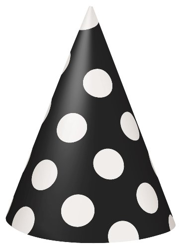 Polka Dot Party Hats, Black, 8 Count (Black Cone Party Hats compare prices)