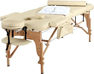 SierraComfort Sierra Comfort All Inclusive Portable Massage Table, Cream
