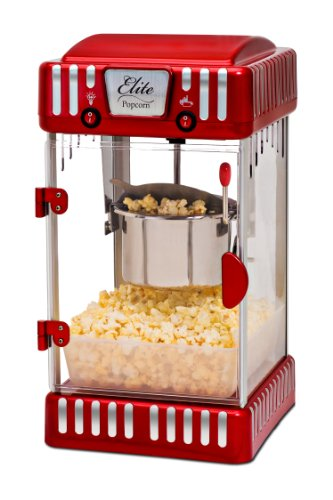Elite Deluxe EPM-250 Maxi-Matic 2.5 Ounce Classic Tabletop Kettle Popcorn Popper Machine, Retro-Style, Red (Popcorn Maker Retro compare prices)