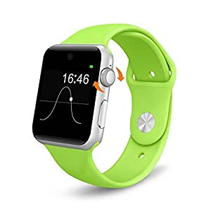 Evershop Bluetooth Smart Watch with SIM Card Slot 2.5D ARC HD Screen Wearable Devices Smartphone Fitness Tracker for IOS iPhone Android Samsung HTC Sony LG Smartphones Black Green
