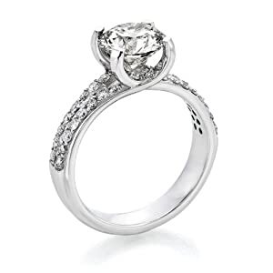 Diamond Engagement Ring in 18K Gold / White Certified, Round, 2.55 Carat, K Color, SI1 Clarity