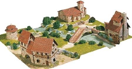 Maquette en céramique : Diorama : Ensemble rural