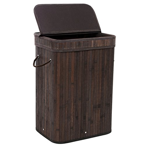 SONGMICS Bamboo Laundry Basket Folding Hamper with Lid and Liner Laundry Storage Rectangular Dark Brown ULCB10B (Tall Laundry Basket Black compare prices)