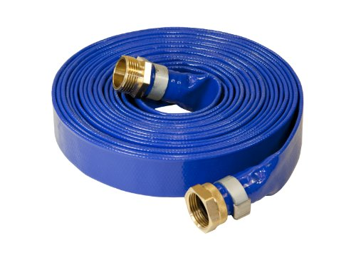 Abbott Rubber 1147-1000-25 Reinforced Blue PVC Lay Flat 1-Inch by 25-Feet Water Discharge Hose with 1-Inch Threaded Couplings (1 Water Hose compare prices)