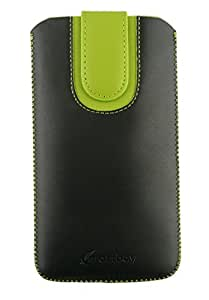 Emartbuy® Black / Green Plain Premium PU Leather Slide in Pouch Case Cover Sleeve Holder ( Size 3XL ) With Pull Tab Mechanism Suitable For Sharp Aquos Compact SH-02H Smartphone