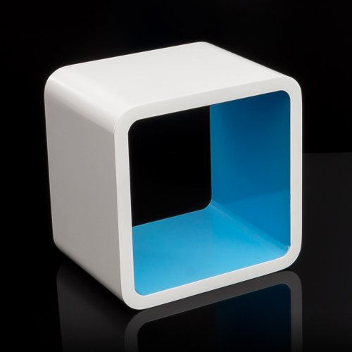 Homestyle4u Cube Wandregal Regal Bücherregal Hängeregal Retro Design weiss blau