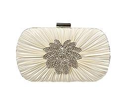 Jessica McClintock Pleated Minaudiere Handbag Style GARDENIA, Ivory