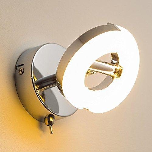 LED Lampada da Parete Applique 1 x 6 Watt in Metallo Cromato Design