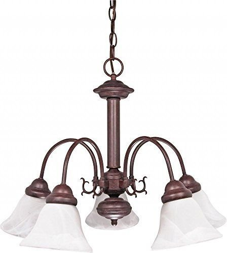 Nuvo 60-183 - 5-Lights Old Bronze Chandelier with Alabaster Glass Bell Shades ;PO#44T-KH/435 H25W3316263