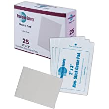 "Magid GZPDNS2X3 White Cotton Precision Safety Sterile Latex-Free Non-Stick Gauze Pad, 3"" Length x 2"" Width (Case of 3600)"