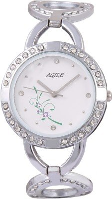 Agile Analog White dial silver stainless steel wrist watch for – women,girls