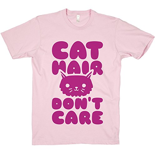 Cotton Cat Hair Dont Care Crewneck T-Shirt (Light Pink, Large)
