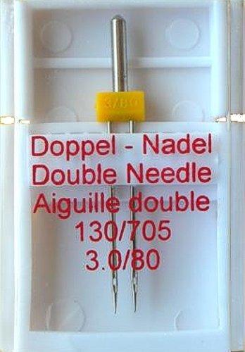 1 Stück 3,0 / 80 Doppel - Nadel  130/705 für Nähmaschine ( Zwillingsnadel Nähmaschinennadel )