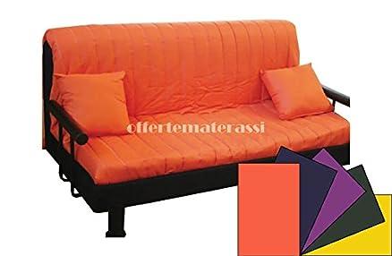 Divano Prontoletto Brontolo MATRIMONIALE completo di braccioli e schienale tubolare (Arancio tinta unita)