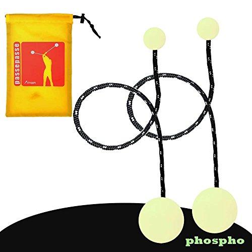 coppia di fosfo bolas con corde nere e inserti in silicone fosforescente più custodia