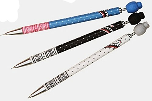 NiceGirl(TM) Whole Set Of 3 Cute Shark Creative Mechanical Pencils With Eraser And 20 Leading Refills Style 7519