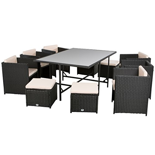 Ultranatura-Poly-Rattan-Lounge-Set-Palma-Serie-11-teilig-1-Tisch-6-Sessel-4-Hocker-inklusive-Auflagen