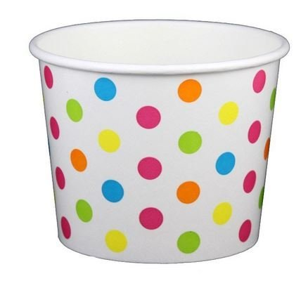 Rainbow Polka Dot Ice Cream Cups 12 oz - 50 count (Paper Ice Cream Cups 12 Oz compare prices)