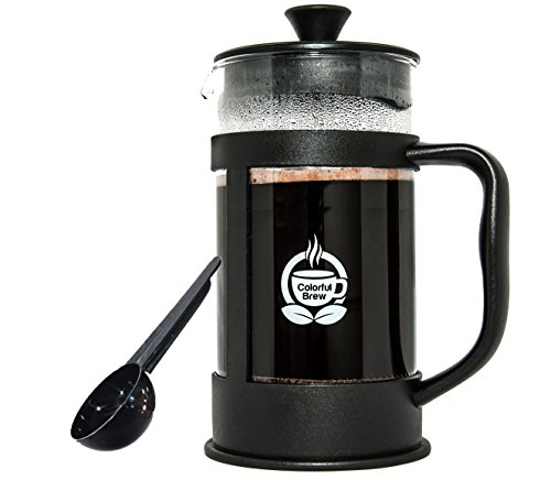 High Quality French Press Coffee Maker And Measuring Spoon - Large Brewer Makes 34 Ounces of Coffee - Made with Strong and Thick Glass Carafe