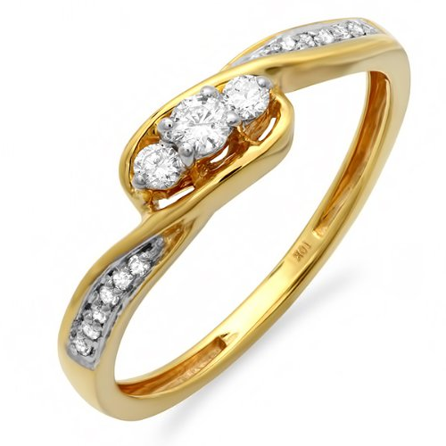 0.25 Carat (cttw) 10k Yellow Gold Round Diamond Ladies 3 stone Engagement Twisted Promise Bridal Ring 1/4 CT