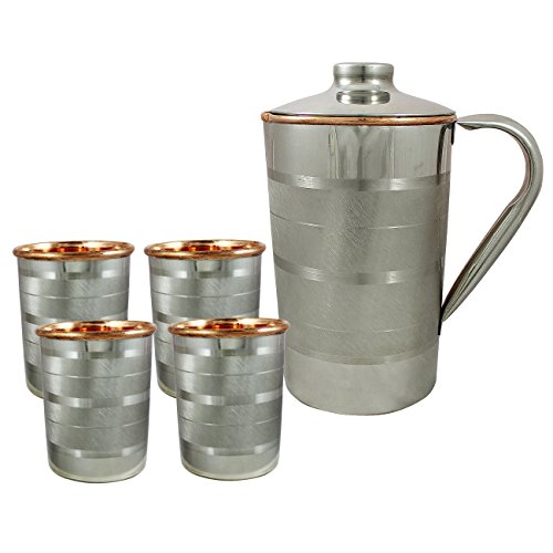 RoyaltyLane Set Of 4, Water Glasses And A Jug Set, Indian Copper Pitcher Drinkware Set, Outside Steel, Capacity 2 Liters 4 IN Brown (Pitcher Sets Gold compare prices)