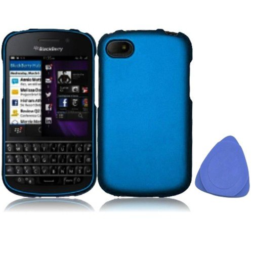 Snap On Hard Rubber Protector Cover Case For Blackberry Q10 - Cool Blue + Tool