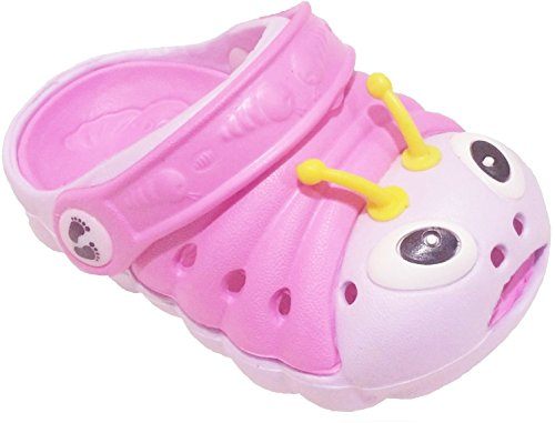 Clogstrom Clogs for Infant or Toddler Boys and Girls Unisex Sandal Animals Shoe (5 Pink/Off-White)